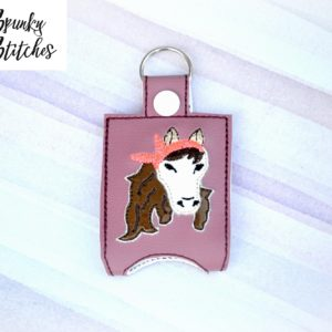 Horse with bandana sanitizer holder key fob in the hoop embroidery file by spunky stitches