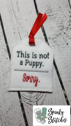 puppy Gift tag in the hoop embroidery file by spunky stitches