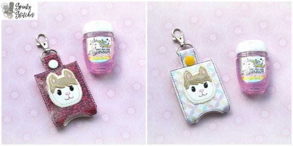 alpaca sanitizer holder key fob in the hoop embroidery file by spunky stitches.