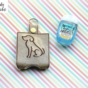 dog sanitizer holder key fob in the hoop embroidery file by spunky stitches.