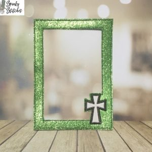 Cross picture frame mat in the hoop embroidery file by spunkystitches