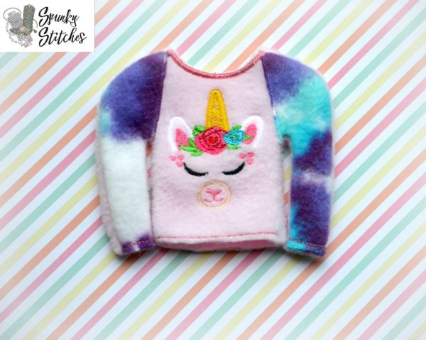 elf llamacorn raglan shirt in the hoop embroidery file by spunkystitches