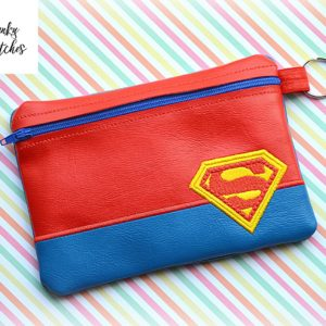 superman zipper bag in the hoop embroidery file by spunkystitches