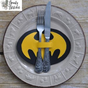 batman silverware holder in the hoop embroidery file by spunky stitches