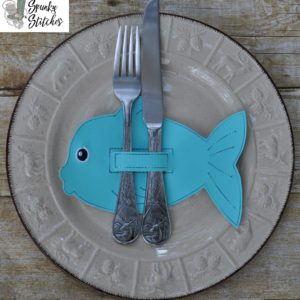 fish silverware holder in the hoop embroidery file by spunky stitches
