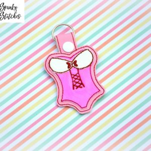 lingerie key fob in the hoop embroidery file by spunky stitches