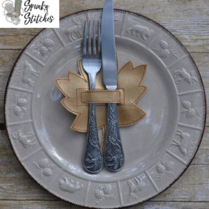 leaf silverware holder in the hoop embroidery file by spunky stitches