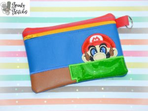 mario zipper bag in the hoop embroidery file by spunky stitches