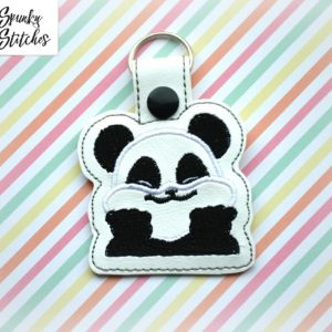 panda key fob in the hoop embroidery file by spunky stitches