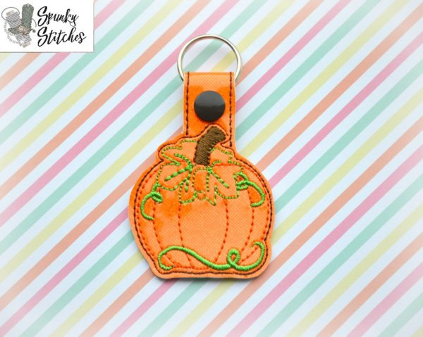 pumpkin key fob in the hoop embroidery file by spunky stitches