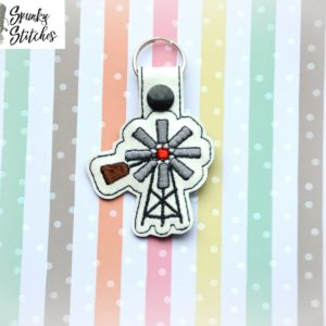 windmill key fob in the hoop embroidery file by spunky stitches