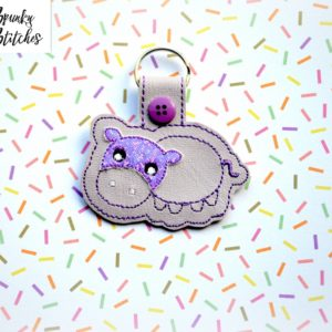 hippo key fob in the hoop embroidery file by spunky stitches