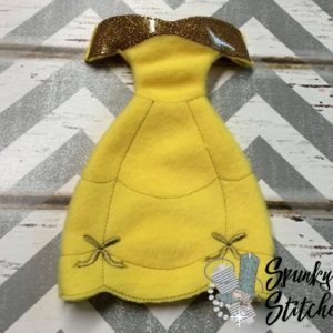 belle costume for elf in the hoop embroidery file by spunky stitches