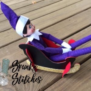 sleigh costume for elf in the hoop embroidery file by spunky stitches
