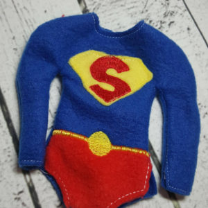 superman costume for elf in the hoop embroidery file by spunky stitches
