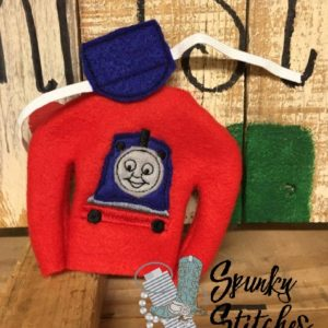 thomas costume for elf in the hoop embroidery file by spunky stitches