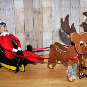 sleigh for elf costume in the hoop embroidery file by spunky stitches