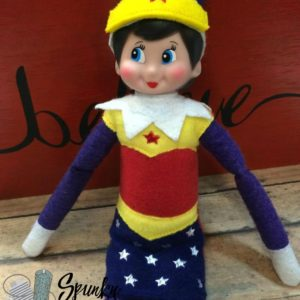 wonderwoman elf costume in the hoop embroidery file by spunky stitches