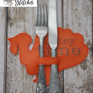 turkey silverware holder in hoop embroidery file by spunky stitches