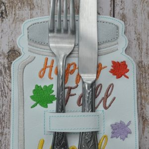 fall mason jar silverware holder in hoop embroidery file by spunky stitches