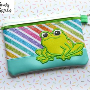 frog zipper bag in hoop embroidery file by spunky stitches