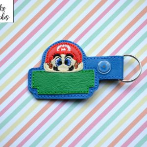 mario key fob in the hoop embroidery file by spunky stitches