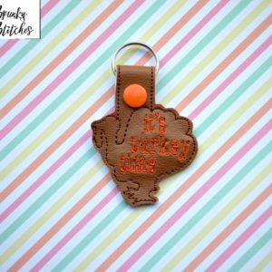 turkey key fob in the hoop embroidery file by spunky stitches