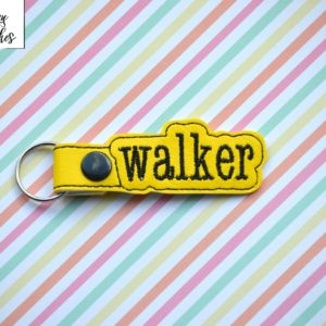 walker key fob in the hoop embroidery file by spunky stitches