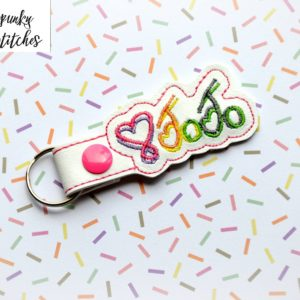 jojo key fob in the hoop embroidery file by spunky stitches