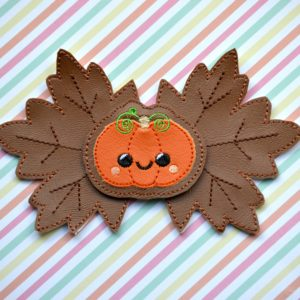Pumpkin leaf bow in the hoop embroidery file by spunky stitches