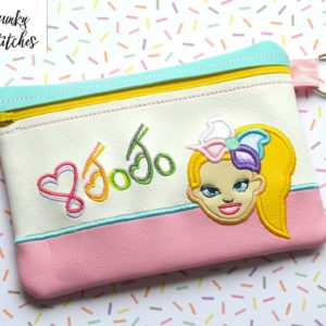 jojo zipper bag in the hoop embroidery file by spunky stitches