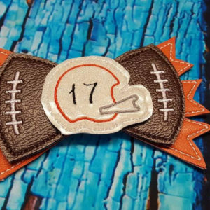 football bow in the hoop embroidery file by spunky stitches