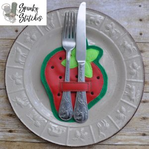 strawberry silverware holder in the hoop embroidery file by spunky stitches