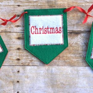 Christmas Banner set in the hoop embroidery file by spunky stitches