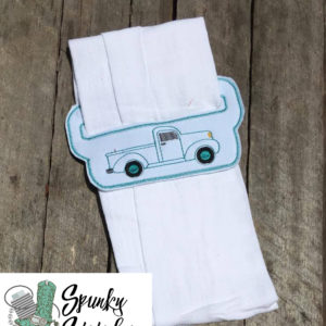 Vintage Truck towel holder in the hoop embroidery file by spunky stitches