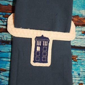 Tardis towel holder in the hoop embroidery file by spunky stitches