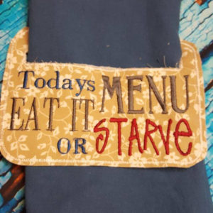 Today's menu towel holder in the hoop embroidery file by spunky stitches