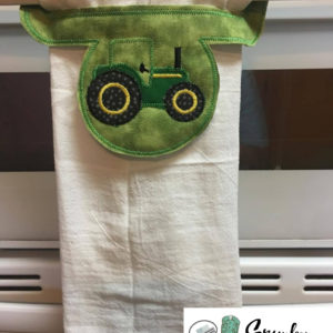 Tractor towel holder in the hoop embroidery file by spunky stitches