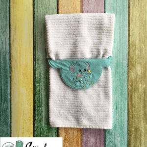 Baby Elephant towel holder in the hoop embroidery file by spunky stitches
