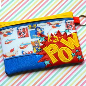 Kapow zipper bag in the hoop embroidery file by spunky stitches