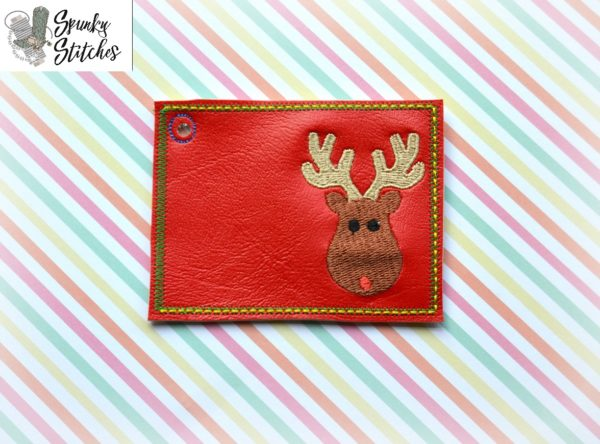 Reindeer Gift card holder in the hoop embroidery file by spunky stitches