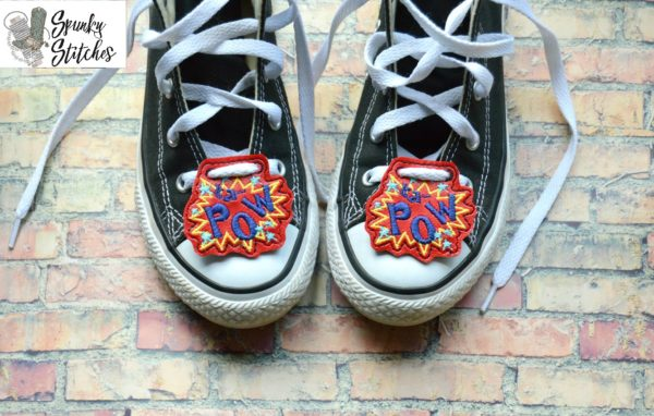 kapow shoe tags in the hoop embroidery file by spunky stitches