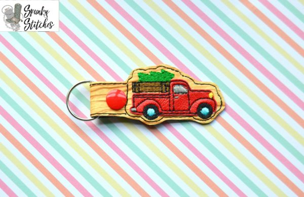 Christmas Truck key fob in the hoop embroidery file by spunky stitches