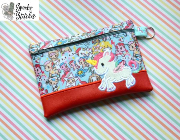Unicorn full body zipper bag in the hoop embroidery file by spunky stitches