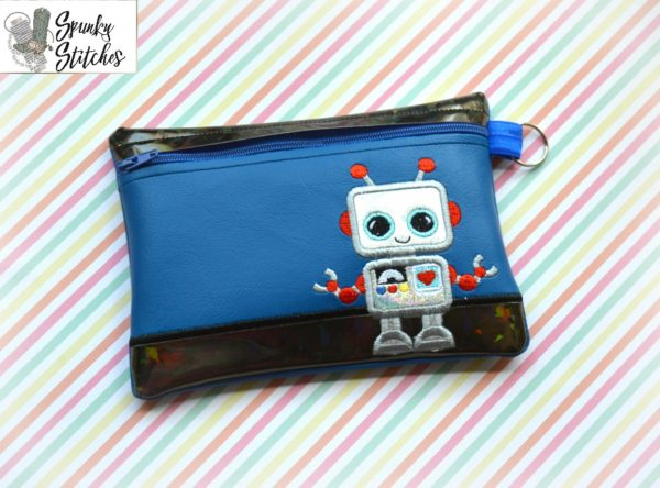 Robot Zipper Bag in the hoop embroidery file by spunky stitches