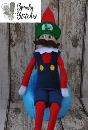 Elf Luigi Costume in the hoop embroidery file by spunky stitches