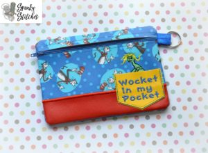 Wocket Zipper Bag in the hoop embroidery file by spunky stitches
