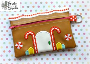 Gingerbread Zipper Bag in the hoop embroidery file by spunky stitches