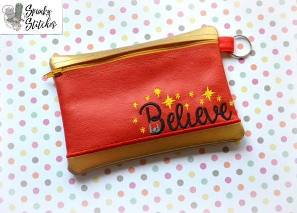 Believe Zipper Bag in the hoop embroidery file by spunky stitches