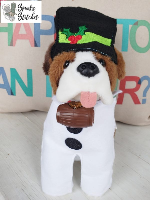 Elf dog snowman costume in the hoop embroidery file by spunky stitches